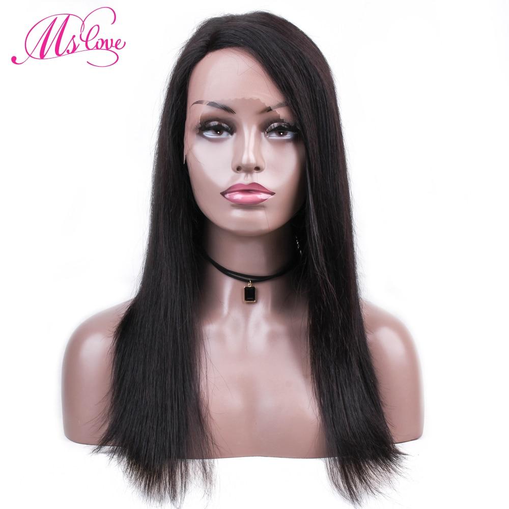 Ms Love Hair dentelle séparation perruques de cheveux humains perruques de cheveux humains droites pour les femmes noires couleur naturelle, rose bleu disponible Non Remy
