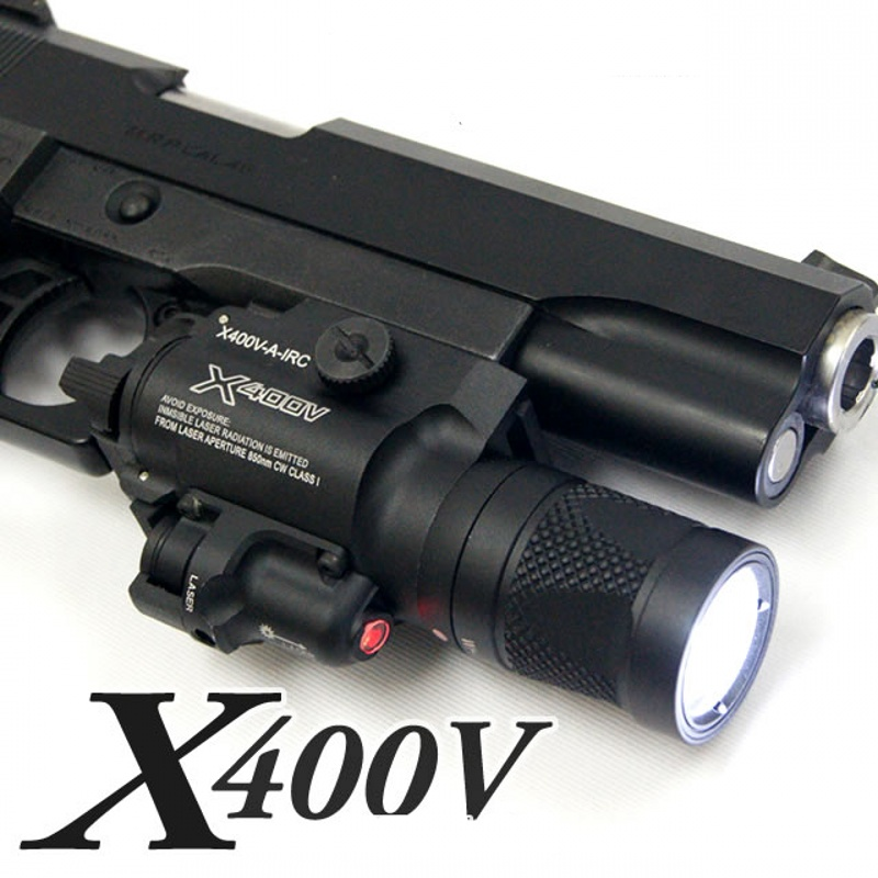CQC Tactical X400V Weapon Light With Red Laser LED Pistol Flashlight Airsoft Paintball Hunting Shooting Gun Light red laser sigt 500 lumens military led torch white light tactical weapon flashlight with tail switch for pistol hand gun weapon