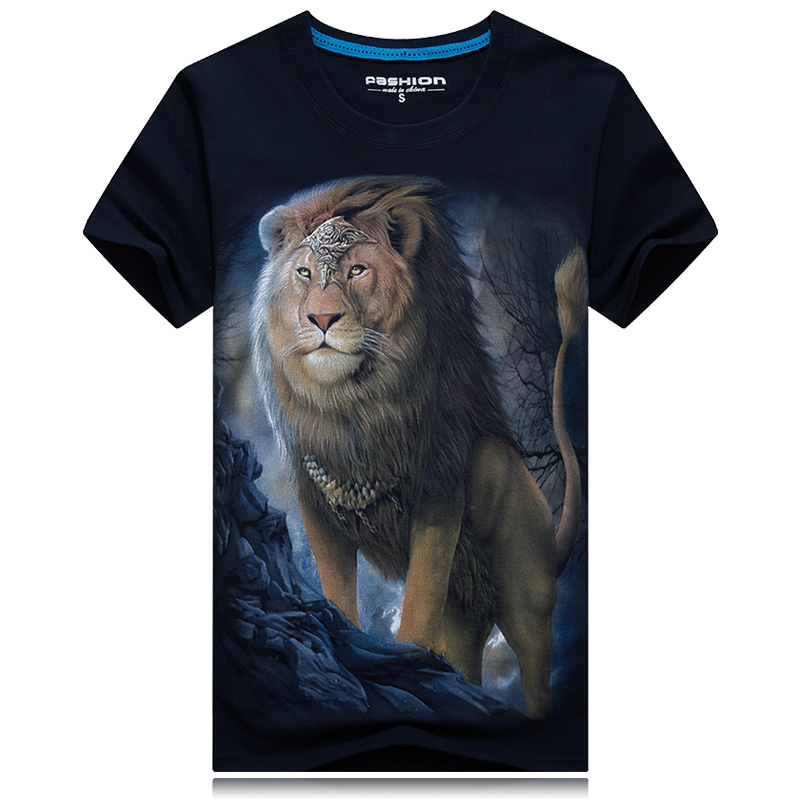 Sommer mænd hvid t-shirt løve trykt 3d tshirt homme casual hipster - Herretøj - Foto 6