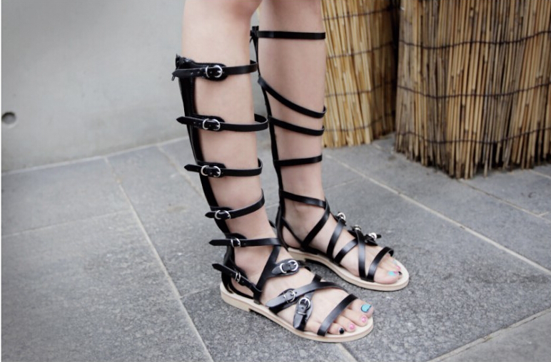 fa724f7ee024 2015 New Arrival Knee High gladiator sandals women Comfortable Flats Straps Heel  Sandals Summer Shoes Big Sizes 34 44-in Women s Sandals from Shoes on ...