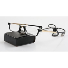 High Quality Women Half Frame Semi Rimless Reading Glasses Folding Necklace Heart Hanging Readers gafas for Men leather Case A1