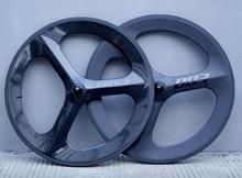 700C full carbon 3 spokes carbon wheels 70mm depth Tri spoke clincher/tubular for road/Track/Triathlon/Time Trial Bike rim