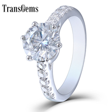 Transgem 2ct Center 8mm H Color Moissanite Engagement Ring Solitare with Accents Sterling Silver For Women