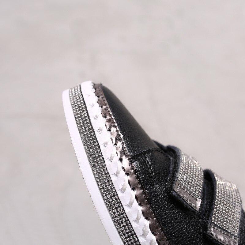 Yu Kube Crystal Genuine Leather sneakers Loafers Shoes 2020 HOOk&LOOP Woman platform Flats Ladies white Walking shoes 3