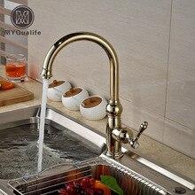Роскошный Золотой ванной Кухонная мойка кран Палуба Гора одной ручкой смесители