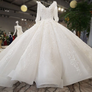 Image 3 - AIJINGYU Hochzeit Kleider China Shiny Weiß Neueste Stil Hochzeit Plus Größe Spitze Kappe Nova Kleid Brautkleid Online Verkauf