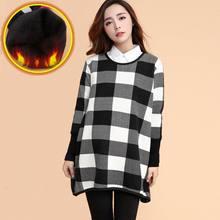 2016 fashion loose maternity clothing autumn and winter sweater plus velvet thick basic shirt plus size