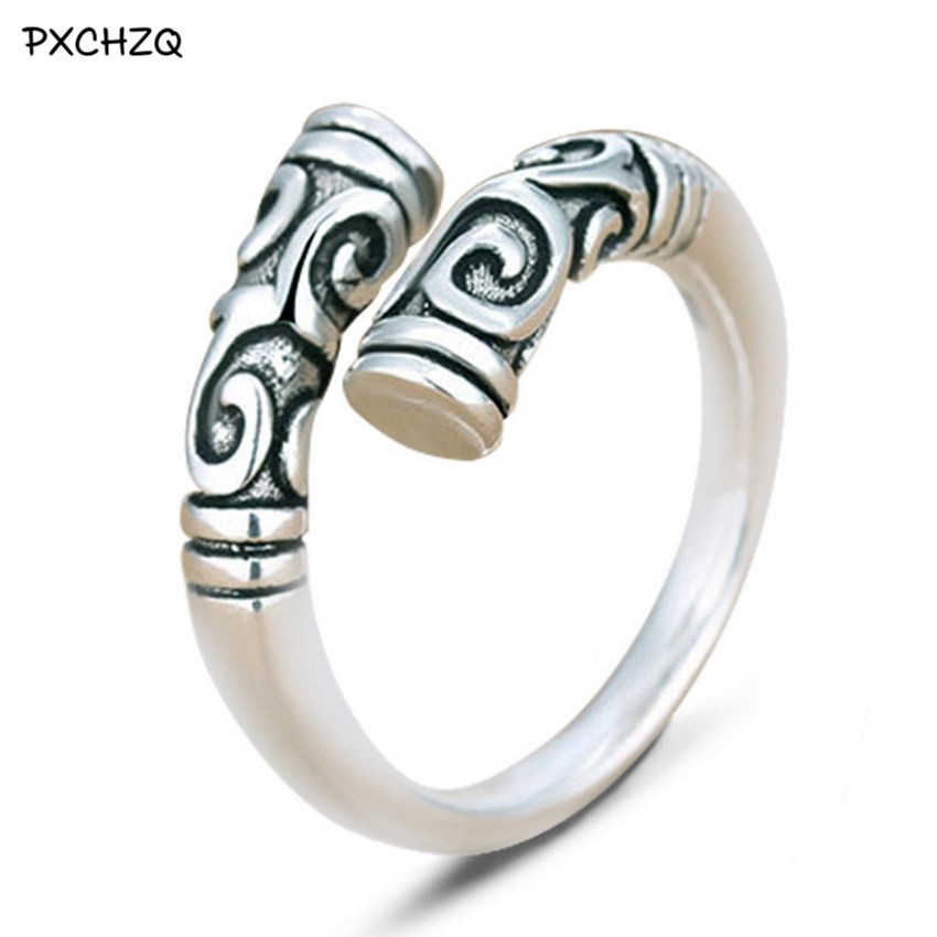 Thai silver Colour ring restoring ancient ways is popular men and women high-grade iron ring Great opening ring tail ring