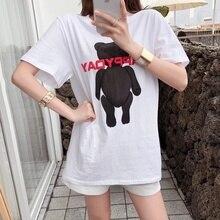 Womens T-shirt Large Size Tshirt 3D Letter Cartoon Short Sleeve Casual Female Long Loose T Shirt Blusa