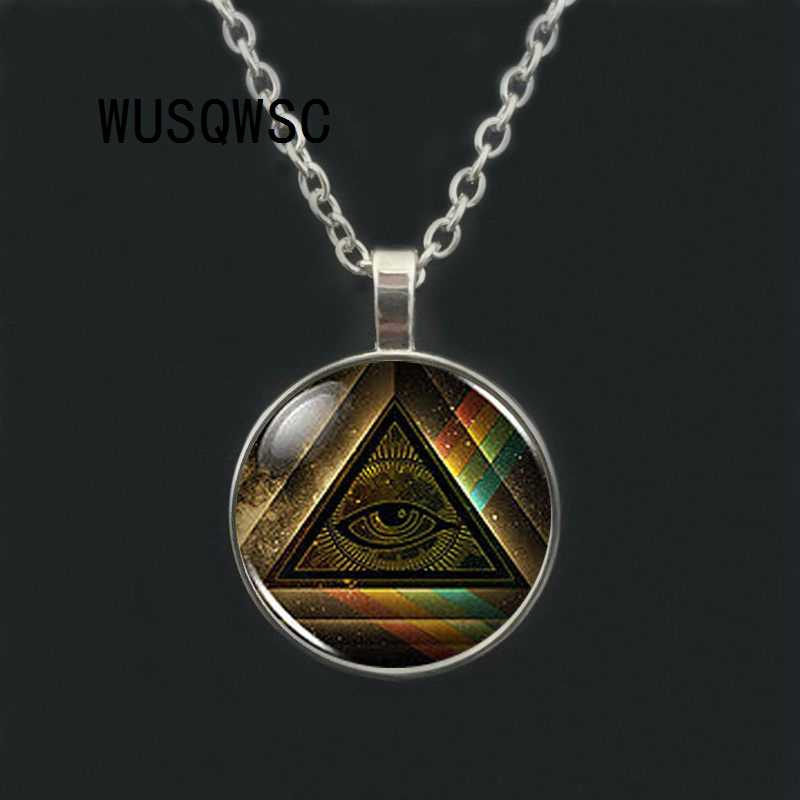 WUSQWSC Steampunk Masonic Free Mason Masonic Illuminati Pendant Satanism Necklace doctor who women men vintage chain gift toy