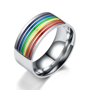 Кольцо с радугой 2020, кольцо из нержавеющей стали, мужские ювелирные изделия, подарок, модные ювелирные изделия