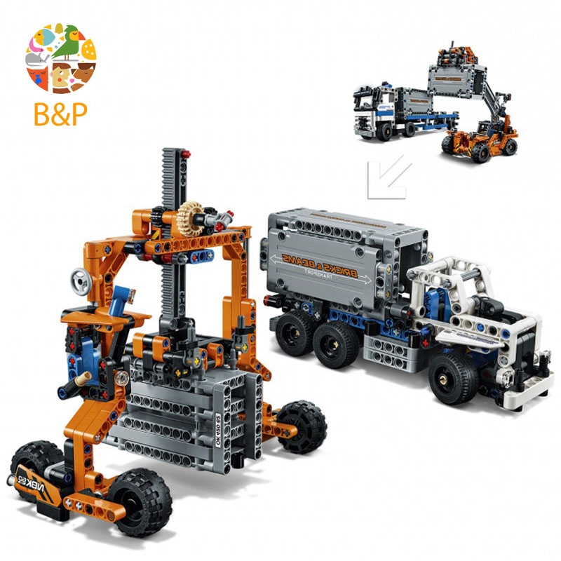 lepin Legoing 42062 631Pcs Technic Series The Container Trucks and Loaders Building Blocks Bricks Gifts Toys compatible 20035 lepin 20035 new 631pcs technic series the container trucks and loaders set building blocks bricks educational toys with 42062