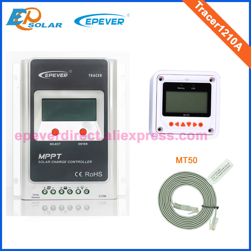 10A 12v/24v Tracer1210A mppt charging solar controller with white MT50 remote meter home small system use micro inverters on grid tie with mppt function 600w home solar system dc22 50v input to ac output for countries standard use
