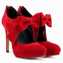 Sexy Heeled Shoes Woman Round Toe Thin High Heel Women Pumps Butterfly-knot Flock Wedding Party Shoes Zapatos De Mujer