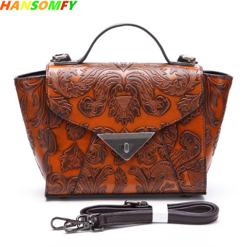 New Women bags retro embossed hand-colored Leather shoulder casual female Messenger bag