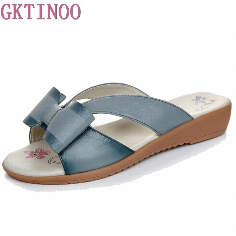 GKTINOO 2018 summer slippers women flat platform sandals shoes beach shoes slip-on round toe cow leather slides flip flops 2016 summer patent leather buckle slides for women fashion stone upper flat platform ladies casual beach slippers sandals shoes