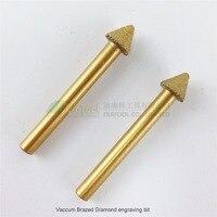 DIATOOL 2pcs 3D CNC Vacuum Brazed Diamond Engraving Bits For Stone 60degree, 6mm Shank, Stone Carving Tools, Diamond Burrs