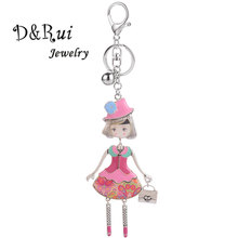 2019 New Women Doll Bag Keychain Girl Key Chain Handmade Enamel Alloy Car Pendant Ring Keychains Fashion Jewelry Wholesale