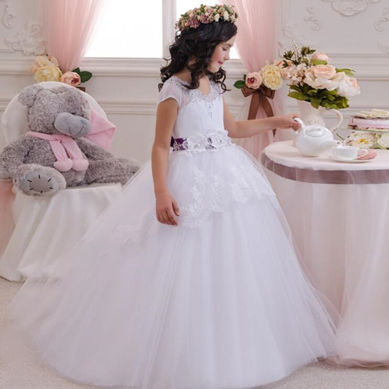 White lace applique Short sleeve Purple belt Flower Girls Dress Party Prom First Communion Tulle Dresses