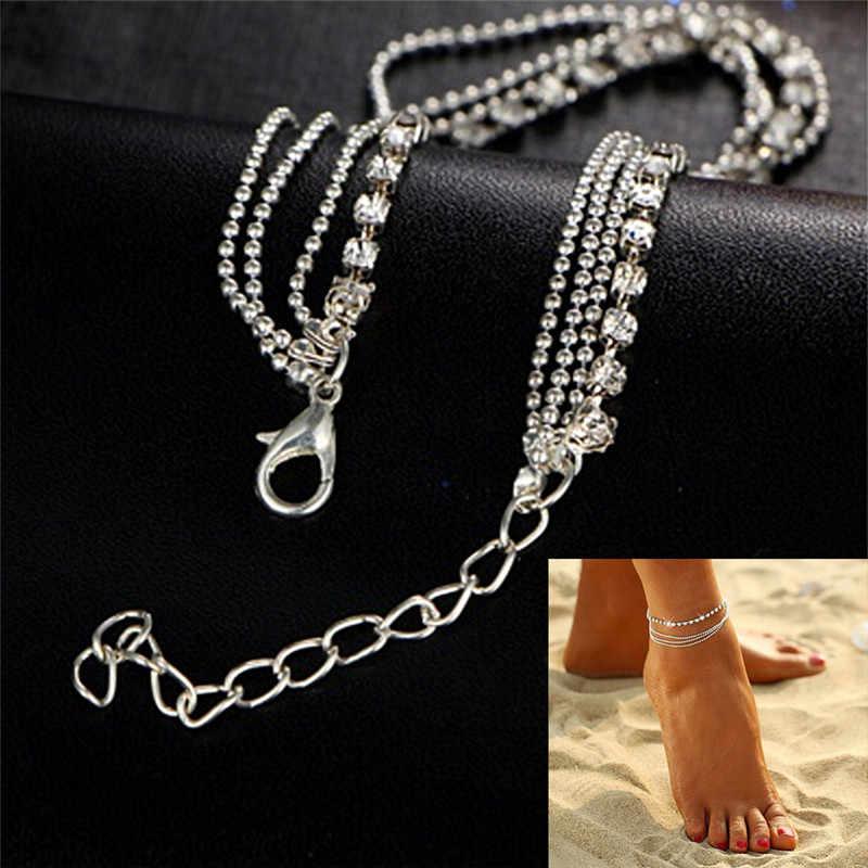 JETI kristal boncuklar Katmanlı Zincir Moda Ayak Bileği Bilezik Charm ayak takısı çizme takı zincirleri cheville Bacak Bilezik