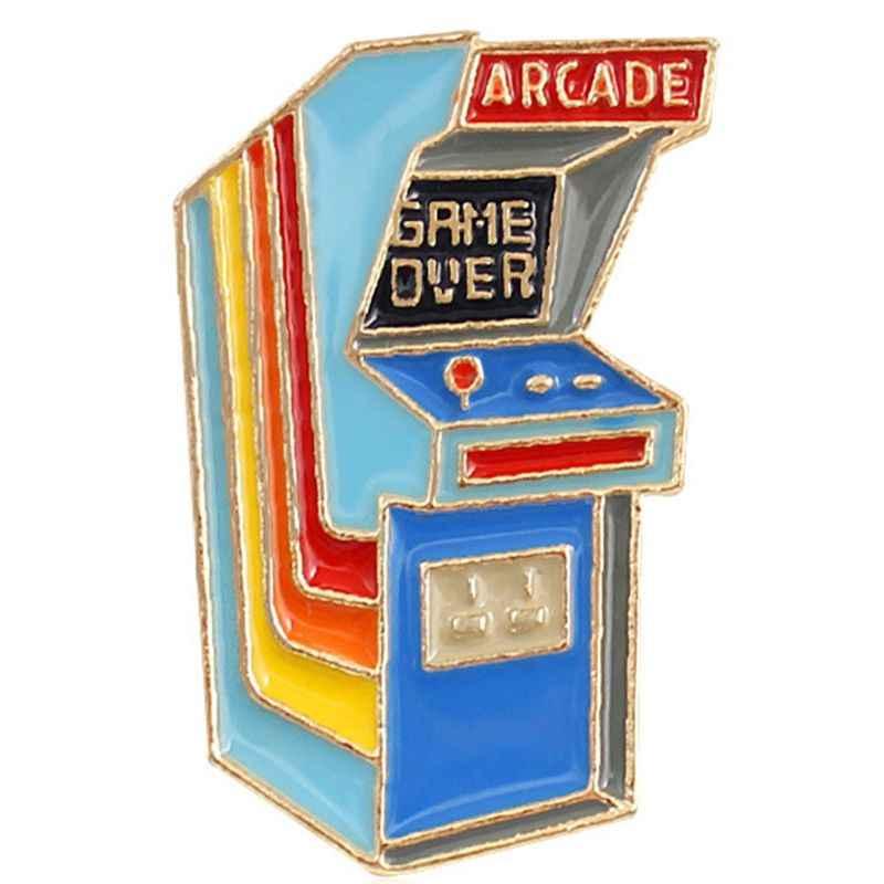 Desenhos animados bonito máquina de jogo mesa liga broche mini pinos emblema esmalte lapela pino bonito vestidos chapéu cachecol decoração acessório