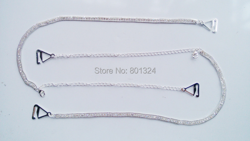 Adjustable Silver Crystal Rhinestone Diamante Bra Strap Wedding Bridal One Row Clip Bra Underwear Shoulder Strap 9