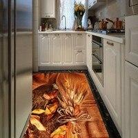 Ücretsiz Kargo Özel 3D stereo altın pirinç mutfak zemin çıkartmaları restoran koridor Kendinden yapışkanlı döşeme duvar kağıdı