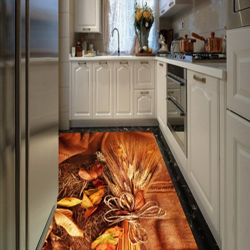 купить Free Shipping Custom 3D stereo gold rice kitchen floor stickers restaurant corridor Self-adhesive flooring mural wallpaper по цене 6953.13 рублей