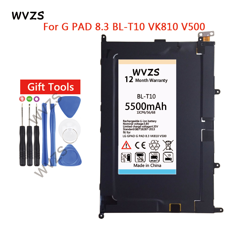 wvzs 5500mAh Battery <font><b>BL</b></font>-<font><b>T10</b></font> For LG GPAD G PAD 8.3 <font><b>BL</b></font>-<font><b>T10</b></font> VK810 Replacement Batteries image