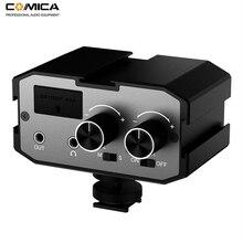 Comica ax1 adaptador universal de microfone, amplificador de áudio, com entradas estéreo e mono duplas para câmeras canon e nikon