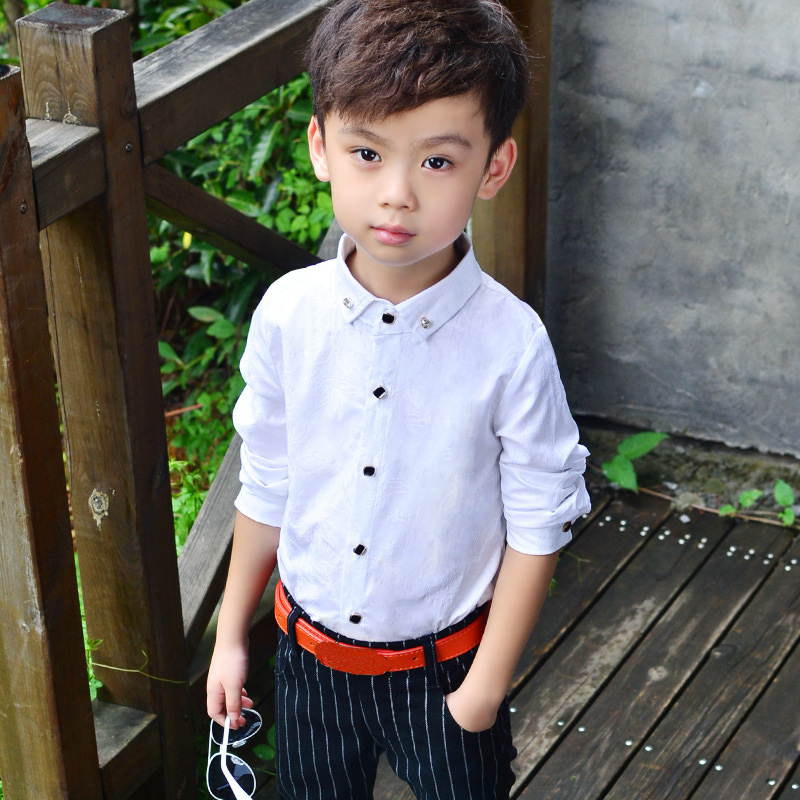 Boys Blouses Dress Shirts boys long sleeve Children Shirt Baby Kids Wedding Clothes  Boys Formal Dress Shirts Boys Tops-Leather bag
