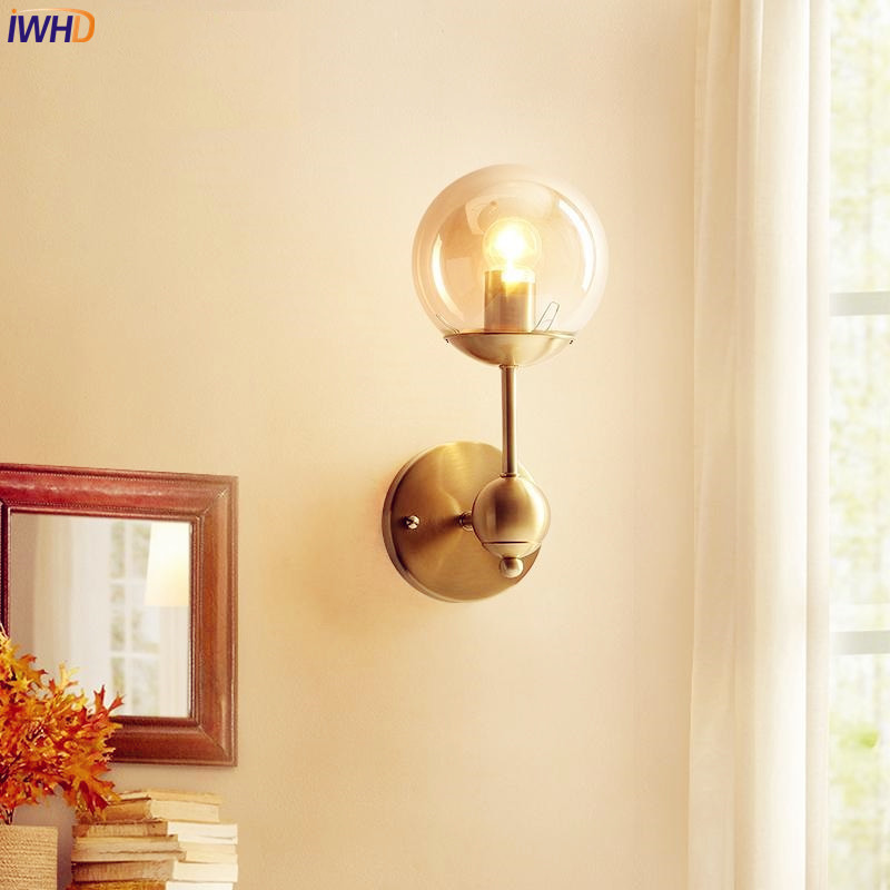 Nordic Style LED Wall Light Fixtures Bathroom Mirror Beside Glass Ball Copper Wall Lamp Vintage Home Indoor Lighting Luminaire modern led bathroom light stainless steel led mirror lamp dresser cabinet waterproof sconce indoor home wall lighting fixtures