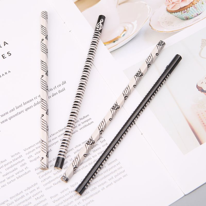 4pcs Musical Note Pencil HB Standard Pencil Music Stationery Piano Notes School Student Gift