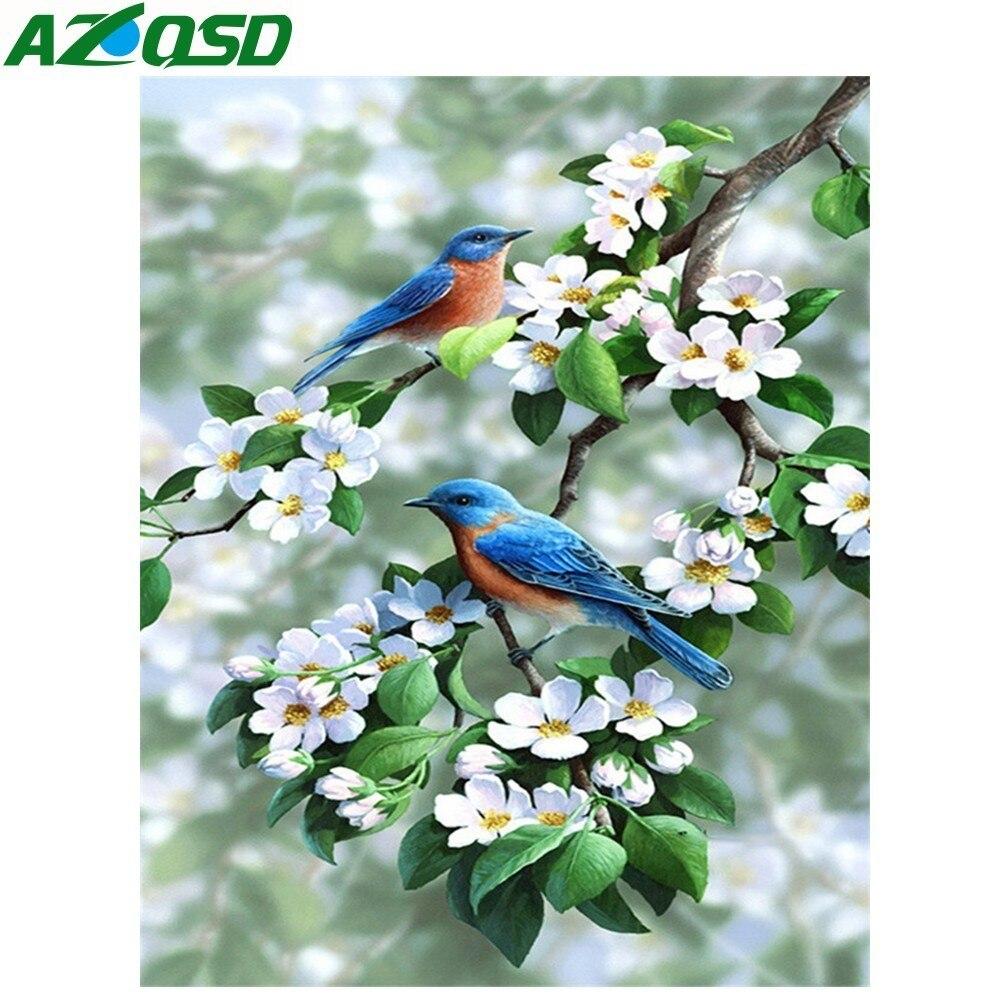 AZQSD Full Square/Round Drill 5D DIY Diamond Painting Bird Flower Embroidery Cross Stitch Animal 5D Home Decor Handmade Gift