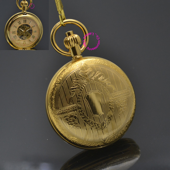 Man Mechanical Pocket Watch Classic Fob Watches Shield Flower Retro Vintage Gold Ipg Plating Copper Brass Case Good Quality Hour