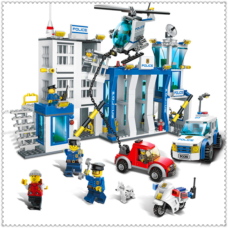 GUDI 9320 870Pcs Police Station Helicopter Car Motorcycle Building Block DIY Educational  Toys For Children Compatible Legoe gudi 9217 874pcs city fire station helicopter firemen building block diy educational toys for children compatible legoe