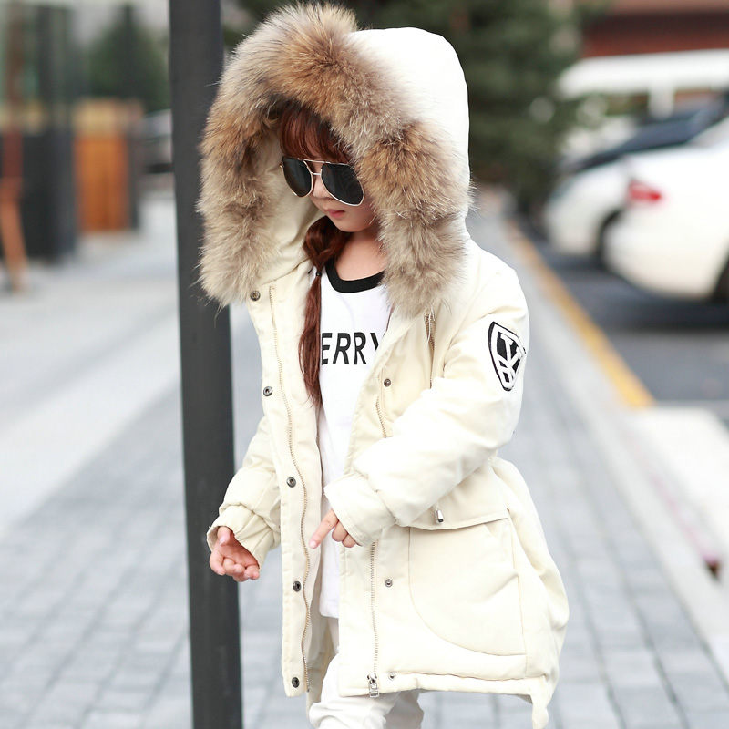 New brand Winter Down Coat Large Raccoon Fur Collar Duck Down Jacket Girls Windbreaker Warm Hooded Snowsuit Trench Coat TZ105 new winter girls boys hooded cotton jacket kids thick warm coat rex rabbit hair super large raccoon fur collar jacket 17n1120