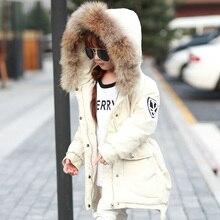 Новый бренд Зима Пуховик Большой Енот Меховым Воротником Duck Down Куртки Девушки Ветровка Теплый Капюшоном Snowsuit Пальто TZ105