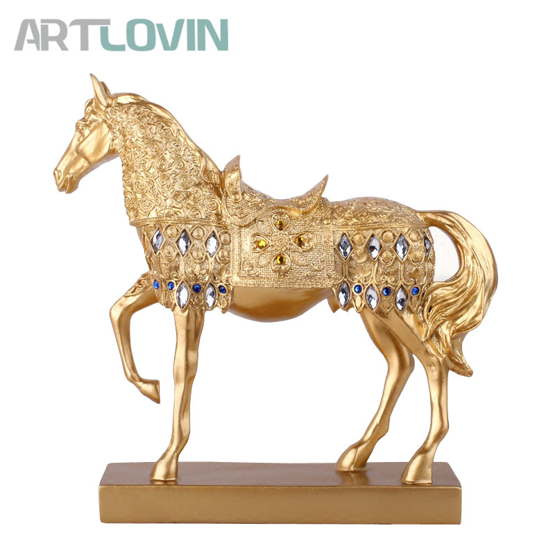 27 cm Height Decorative Handmade Gold Silver Resin Horse Figurine for Wedding ornaments Modern Home Decoration