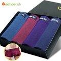 Suave transpirable boxers de algodón 4 unids sexy cortocircuitos del boxeador de los hombres de la alta calidad underwear boxers underwear plus tamaño