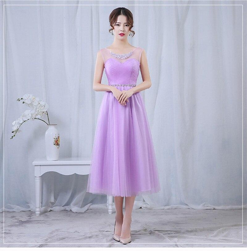 Encantador Vestido De Dama De Longitud Del Té Ideas Ornamento ...