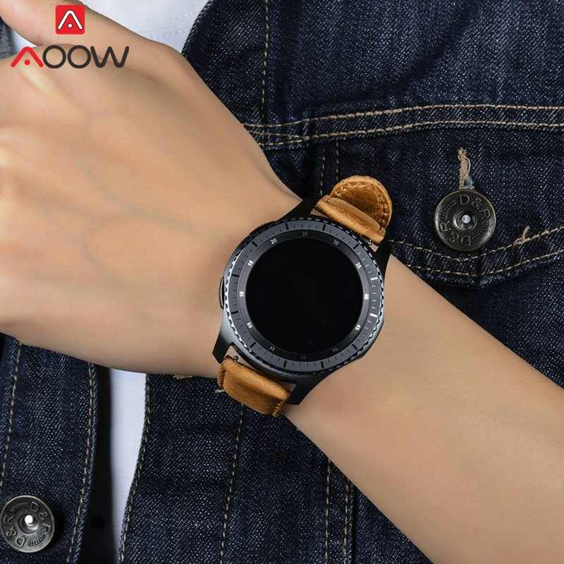 AOOW جلد طبيعي Watchband لسامسونج جير S2 S3 الكلاسيكية الحدود ساعة ذكية استبدال سوار الفرقة حزام 20 مللي متر 22 مللي متر