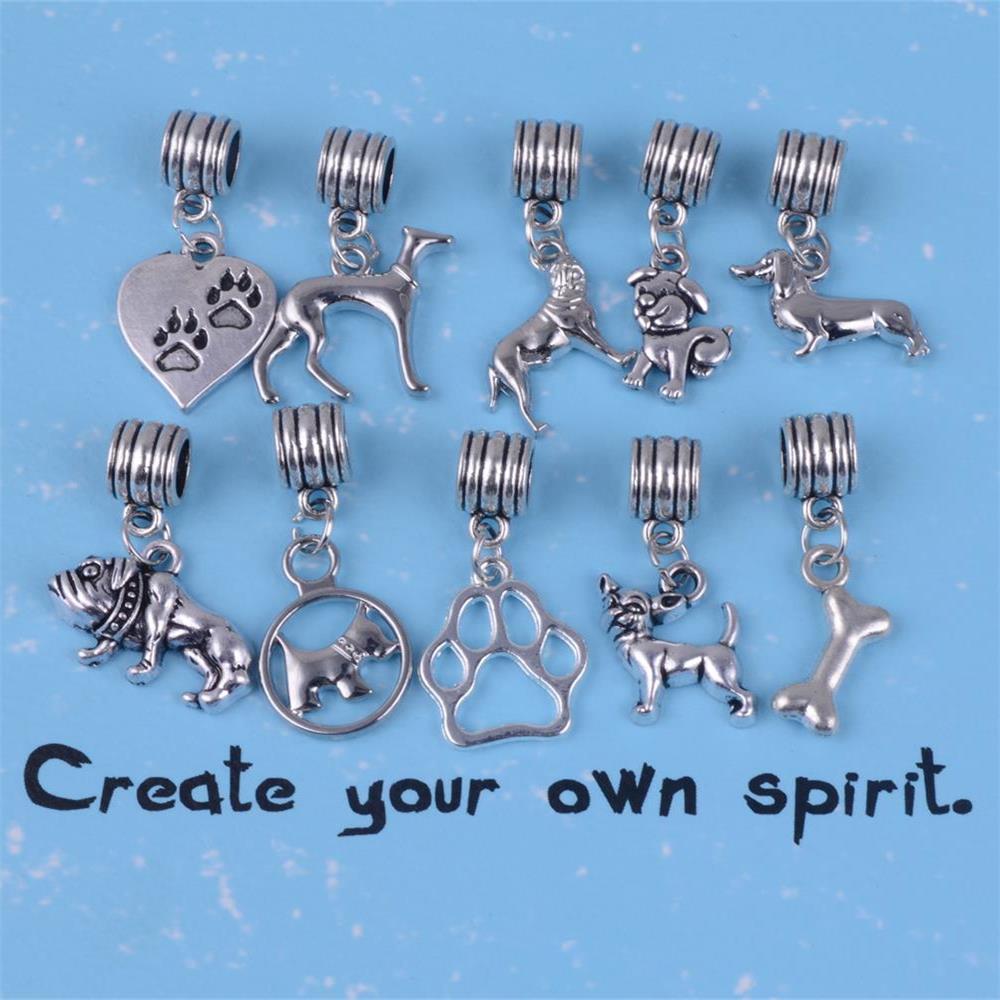 my shape Animal Pet Greyhound Bulldog Chihuahua Dachshund Dog Paw Charms Beads fit Bracelet DIY Bangle Pendant Charms ...