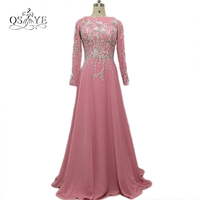 Dusty Pink Long Arabic Muslim Formal Evening Dresses 2017 Real Photo Beading Chiffon Long Sleeves Sweep Train Long Prom Dress