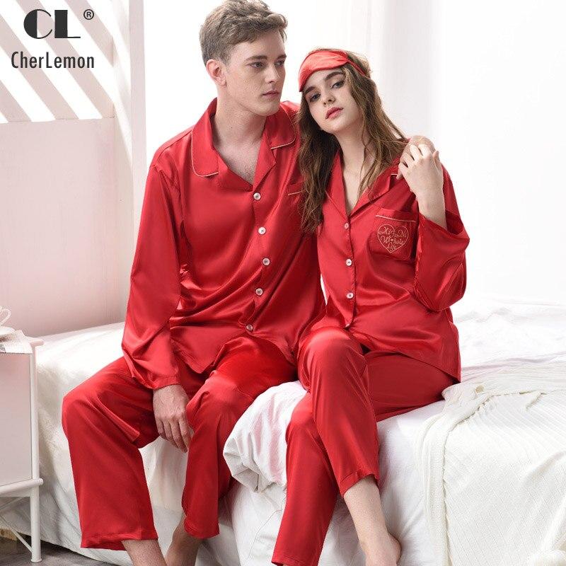 e5a5d9d0b8 CherLemon Couples Classic Silk Satin Red Pajama Sets Womens Autumn Long  Sleeve Button Down Sleepwear Mens