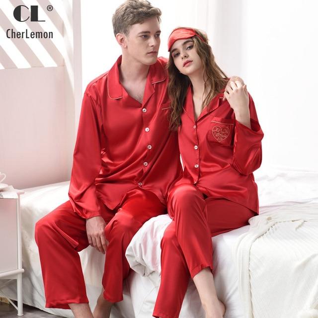 1c0ea9800 CherLemon Couples Classic Silk Satin Red Pajama Sets Womens Autumn Long  Sleeve Button Down Sleepwear Mens