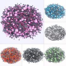 Hotfix Rhinestones Strass-Fabric Crystals Crafts Back-Glass Round Solid-Glue And