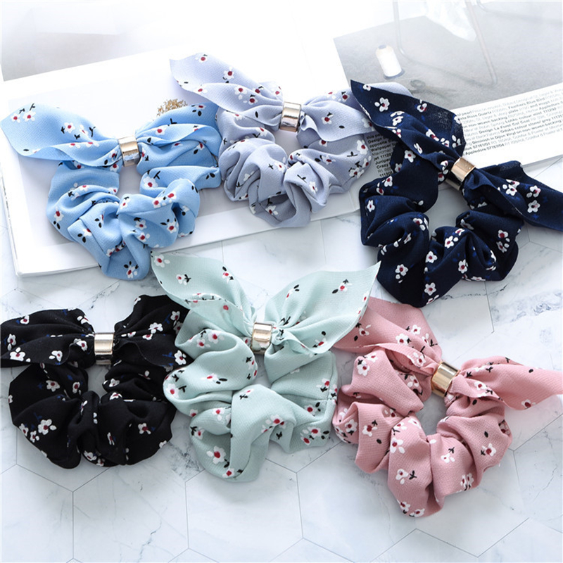 Rabbit Ears Bowknot Silk Hair Scrunchies Women Rubber Hair Rope Ponytail Holder Bows Hair Tie Band Hair Accessories