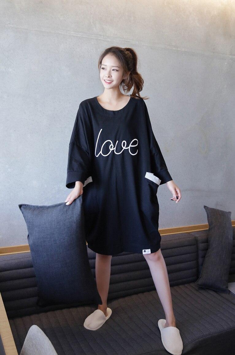 55db531356 Women s dresses 2017 new cotton night shirts women letter printed long  nightgown ladies long sleeve nightgowns cute sleepwear-in Nightgowns    Sleepshirts ...
