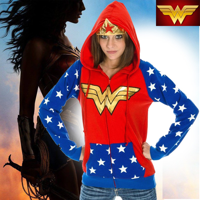 DC Wonder Woman Foil Crown Junior Hoodie Cosplay Anime S-2XL New Zipup Girl Coat Hoodies & Sweatshirts